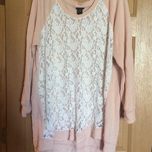 Torrid Pink & White Lace Sweater